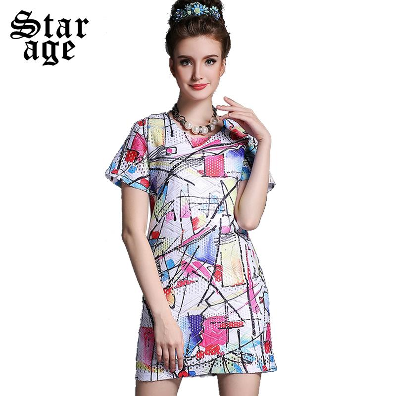 S-5XL Ladies Hollow Watercolor Print Casual Dress Short Sleeve Straight Dresses 2015 Brand Plus Size Summer Women Clothing A661(China (Mainland))