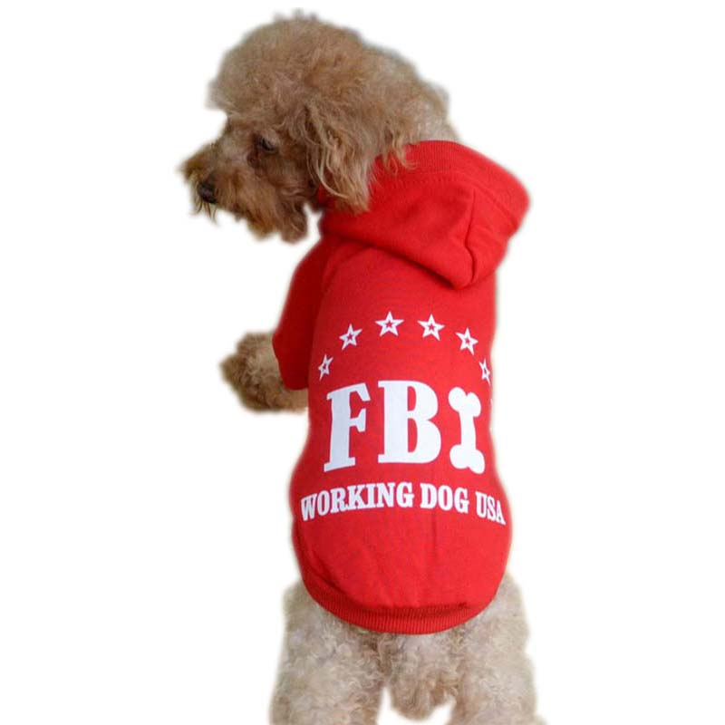 Autumn Winter Leisure Puppy Pets Letter FBI Printed Coat Warm Fleece Hoodie Clothes Dogs Sweater Pet Products 2016(China (Mainland))