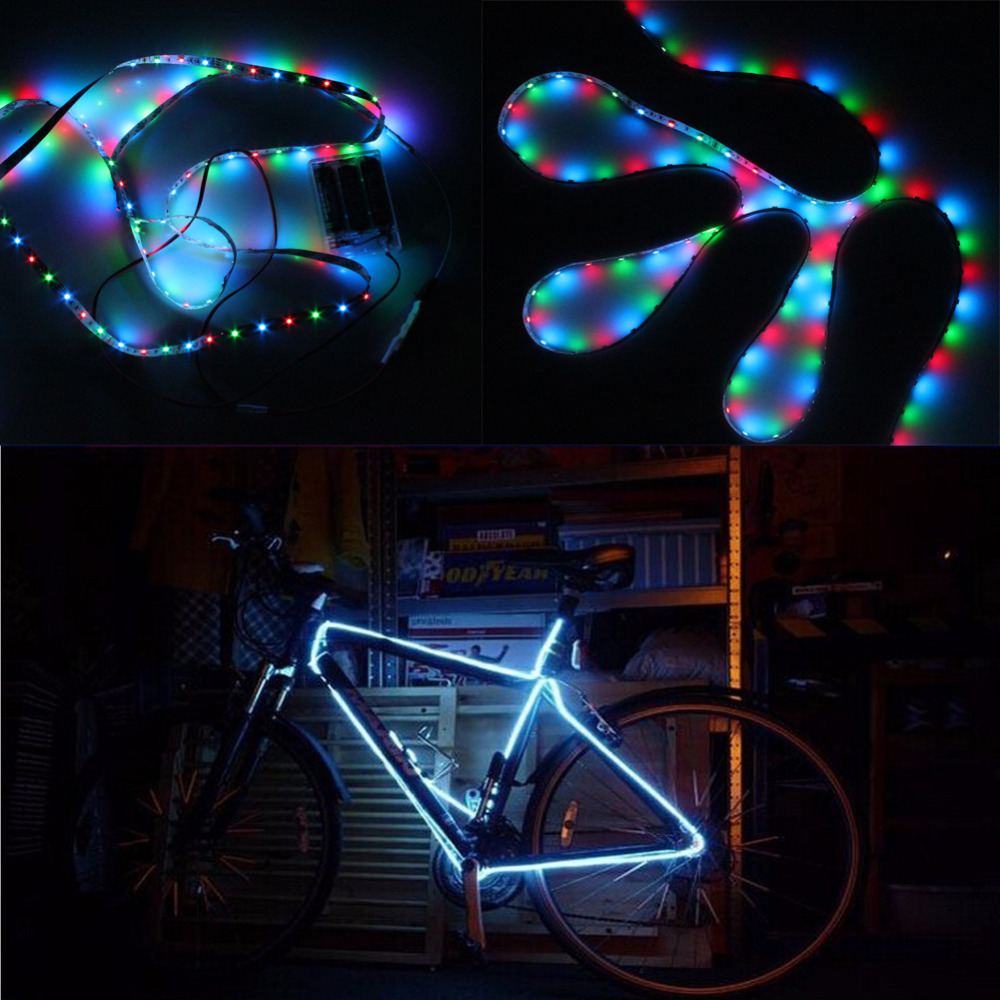 MIYOLE 1M aaa battery power led strip 3528 RGB LED Flexible light led tape bike lighting flower decoration lights stage show(China (Mainland))
