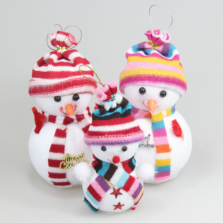 Kawaii Christmas Tree Hanging Snowman New Year Party Supplies Mini Snowman with Beauty Scarf Hat 1pc(China (Mainland))