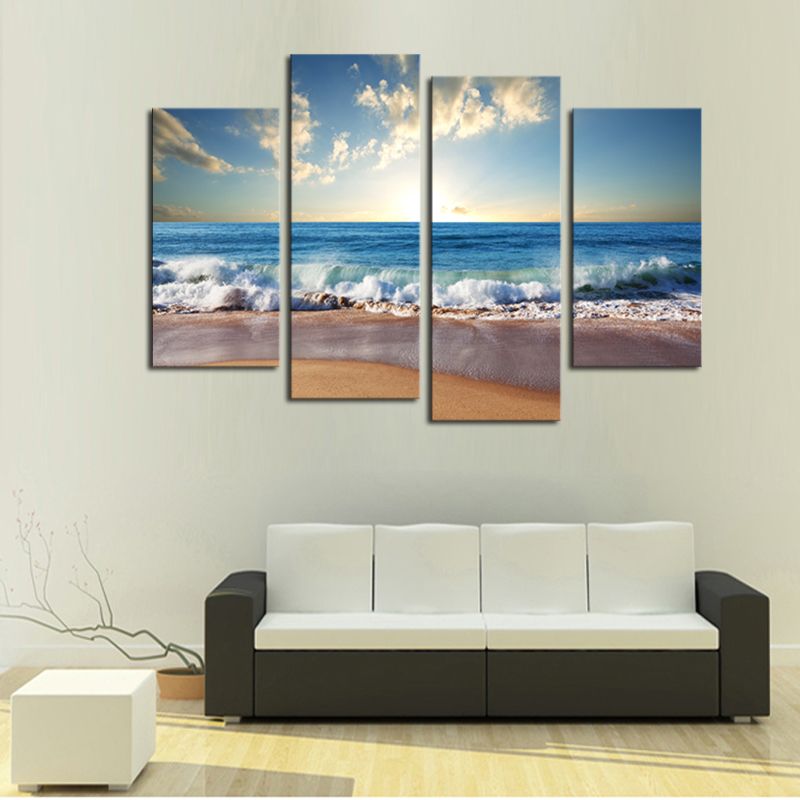 4 pieces hot beach seascape modern wall art painting home for Modern home decor pieces