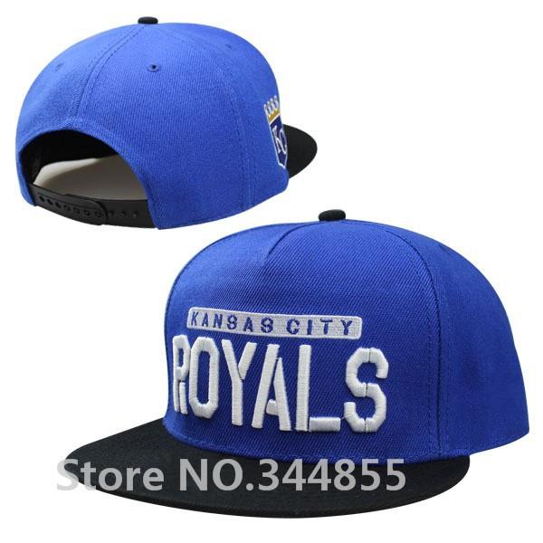 Classic Kansas City Royals Snapback Hats With Royal Blue Color Black Brim Sports KC Adjustable Flat Visor Baseball Caps(China (Mainland))