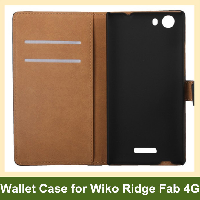 Elegant Genuine Leather Wallet Flip Cover Case for Wiko Ridge Fab 4G with Card Slot Holder 10pcs/lot Free Shipping