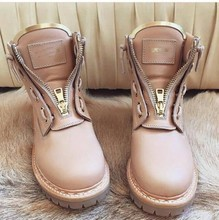 B Brand New Fashion Women Boots Zipper Lace Up Martin Boots Women Flats Comfort Solid Soft Leather Taiga Ankle Boots Shoes Woman