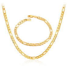 18K Real Gold Plated Necklace Set Wholesale Factory Price 3 Sizes New Trendy Figaro Chain Necklace Bracelet Men Jewelry Set