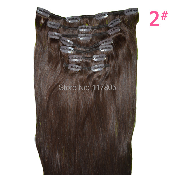 "Free Shipping Clip in Hair Extensions 115g Natural Hair Extension 8 Pieces/ Set 26"" Dark Brown, Blonde Straight Clip ins(China (Mainland))"