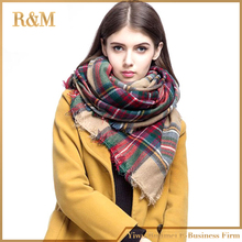 140x140cm winter acrylic tartan plaid scarf brand blanket shawl designer pashmina wrap stole for Lady Women Girl