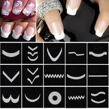 18 Sheet/Set French Manicure Nail Art Tape Stickers DIY Stencil Nail Patterns Decals For Nails Art Decorations Stickers Strip(China (Mainland))