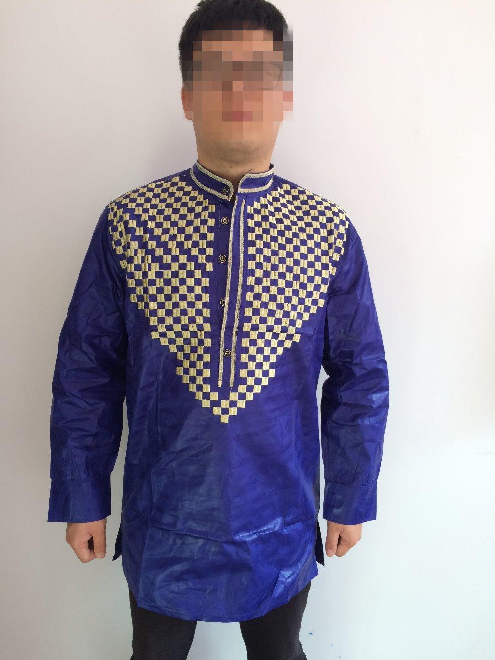 Shirt new design 2015 - 2015 New African Fashion Design African Bazin Riche Embroidery Men Shirt Only One Shirt Long