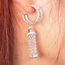 Dangle tassel earrings flashing drop long chain zircon pendant 925 Sterling silver jewelery star wedding gift(China (Mainland))