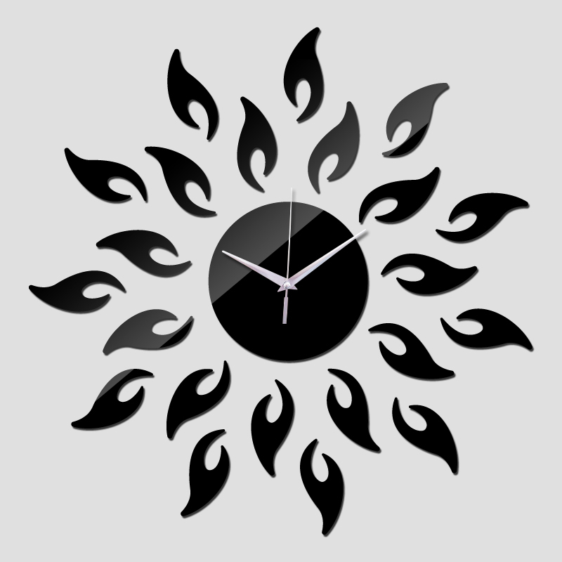 new arrival 2016 direct selling mirror sun Acrylic wall clocks 3d home decor diy crystal Quartz clock art watch free shipping(China (Mainland))