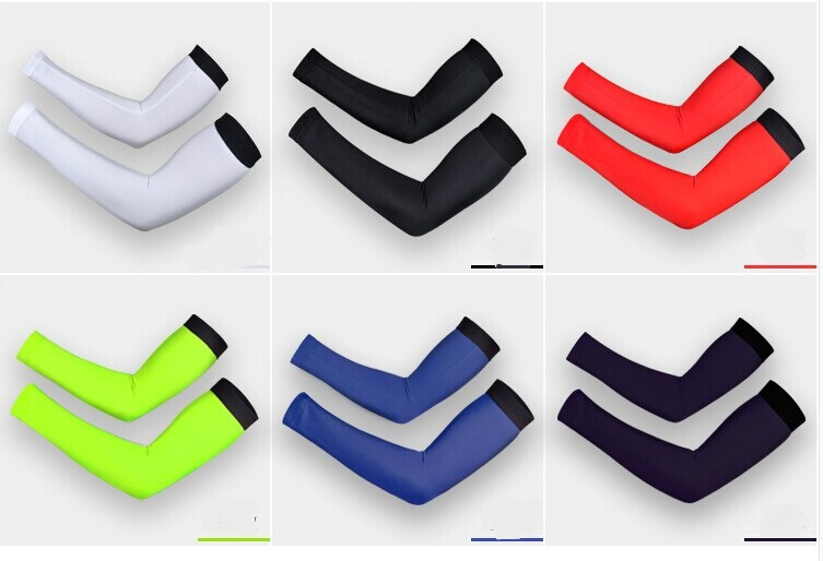 6 Color Cooling Lycra Arm Sleeves Sun Protective UV Cover 1 Pair Variety Color Cycling Arm Warmers(China (Mainland))