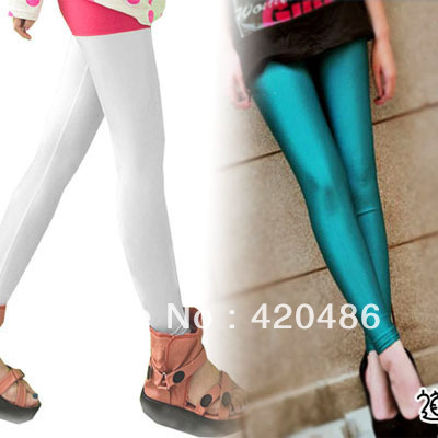 New Fashion Women's Fluorescent Stretchy Neon Leggings Shiny Metallic Pants/Trousers Free Shipping(China (Mainland))
