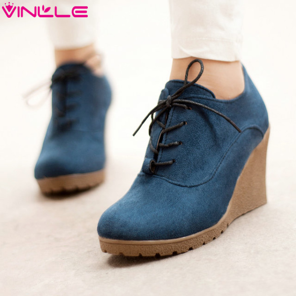 VINLLE 2015 Women's Summer Boots Wedges heel Ankle Boots Ladies Dress Casual Shoes Hot sale size 34-39(China (Mainland))