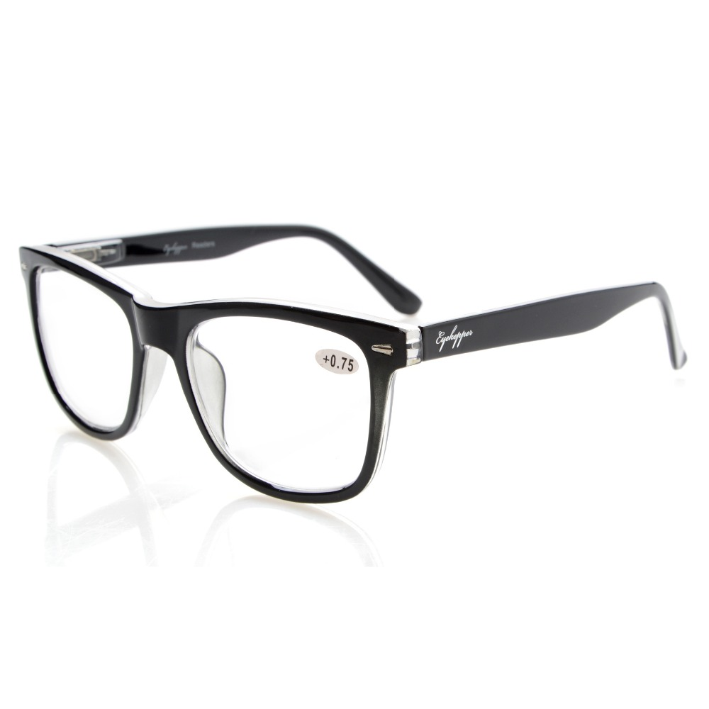 R080 Eyekepper Readers Square Large Lenses Spring-Hinges Reading Glasses & Reading Sunglasses Men Women +0.50----+4.00