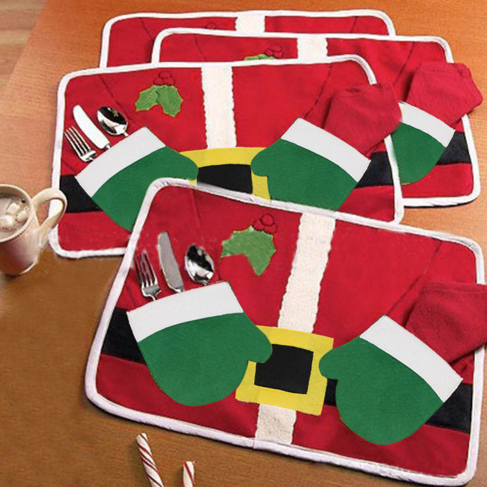 Christmas Santa Clothes Cover Table Runner Placemats Setting Mat Cutlery Holder Free Shipping(China (Mainland))