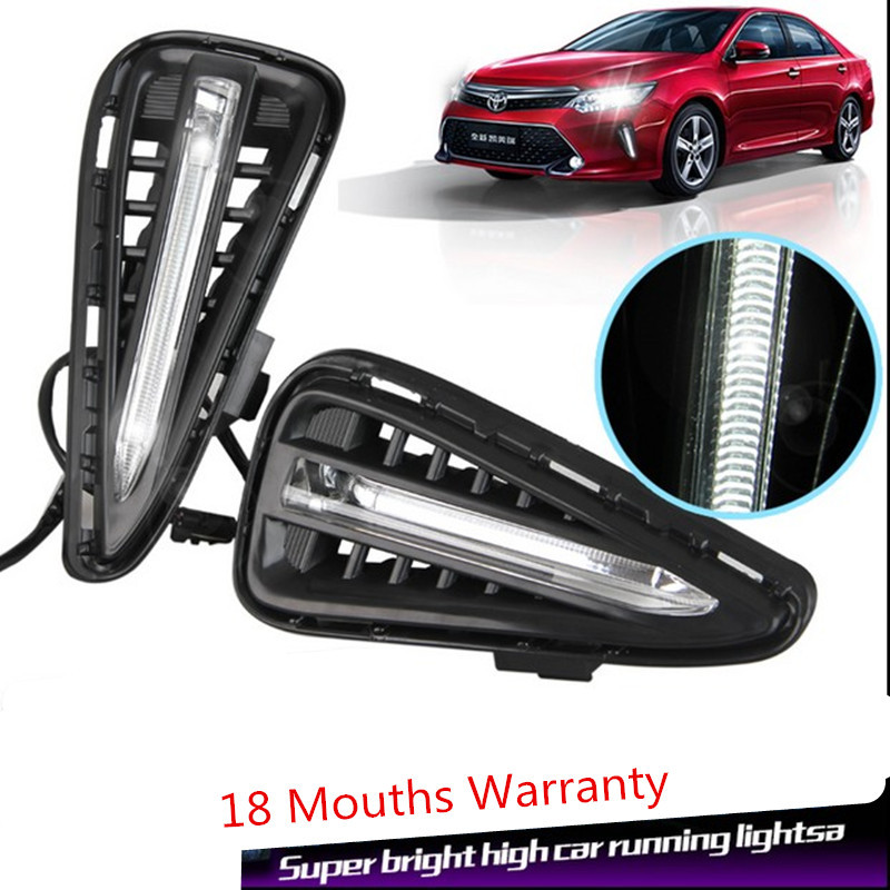 Free shipping!High Quality!new 2015-2016 Toyota Camry Daytime running lights DRL cornering lamp 100% Waterproof LED fog lights!(China (Mainland))