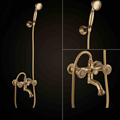Free shipping Bathroom Bath Wall Mounted Carving Hand Held Antique Brass Shower Head Kit Shower Faucet