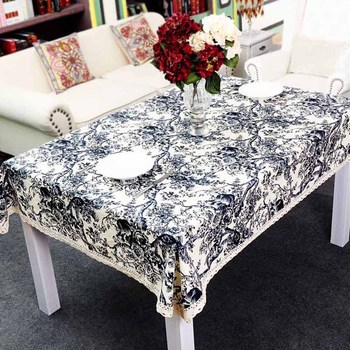 Gododo chinese style blue and white porcelain rectangle thickening round table linen tablecloth dining table cloth table cloth