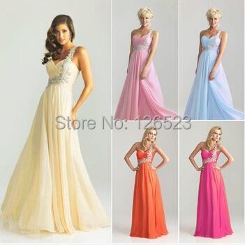 vestido de festa longo V-neck One-Shoulder Floor-length Embroidery Beading Prom Dresses Chiffon Long Formal Evening - KC International Fashion Store store