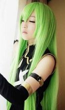Heat Resistant Cosplay party TJ*****Code Geass.CC,943,100cm Long green cape anime cosplay wig synthetic hair - jewe store