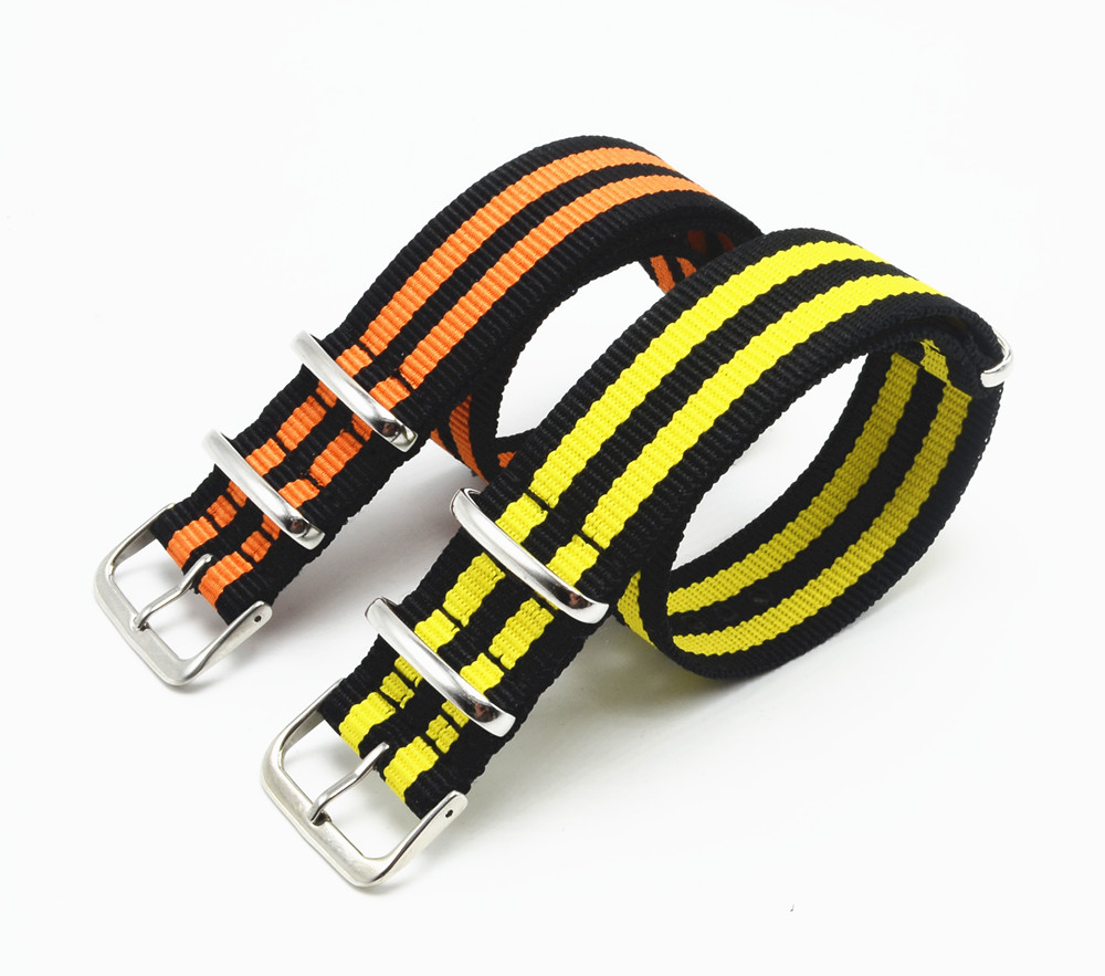 1pcs Carty 20 22mm Black/Yellow Black/Orange Nylon Strap for Sport Watch band Stainless Steel Buckle(China (Mainland))