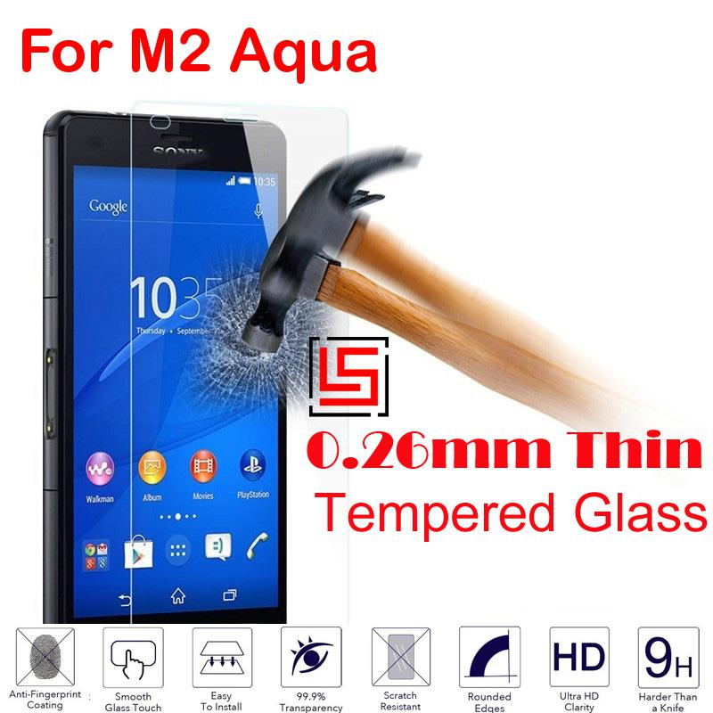 Best Cheap Ultra Thin 0.26mm 2.5D 9H Tempered Glass Verre Phone Cell Front Film Screen Protector For Sony Soni Xperia M2 Aqua(China (Mainland))