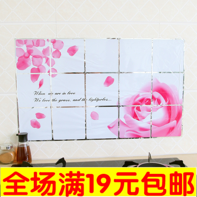 Quality aluminum foil waterproof high temperature resistant oil pollution tile kitchen cabinet decoration stickers hood(China (Mainland))