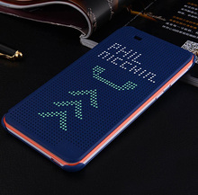 Offical design Dot view smart cover case for HTC one M9 , sleep wake up function flip case for htc M9 + retail + freeship(China (Mainland))