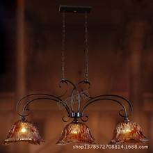 Top chandelier Iron chandelier three straight down the glass cover restaurant chandelier lamp American pool table led chandelier(China (Mainland))