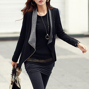 Hot Sale New Fashion Spring Autumn Korean Style Women Coat Slim coat Turn-Down Collar Side Zipper Jacket Casaco Feminino,LR0003(China (Mainland))