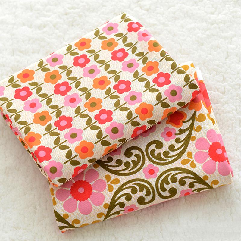 2 Piece Plain Printed USA VB Cotton Fabric DIY Handmade Bag Pillow Bedding Red Flower Buds AB Telas Para Patchwork Textile Cloth(China (Mainland))