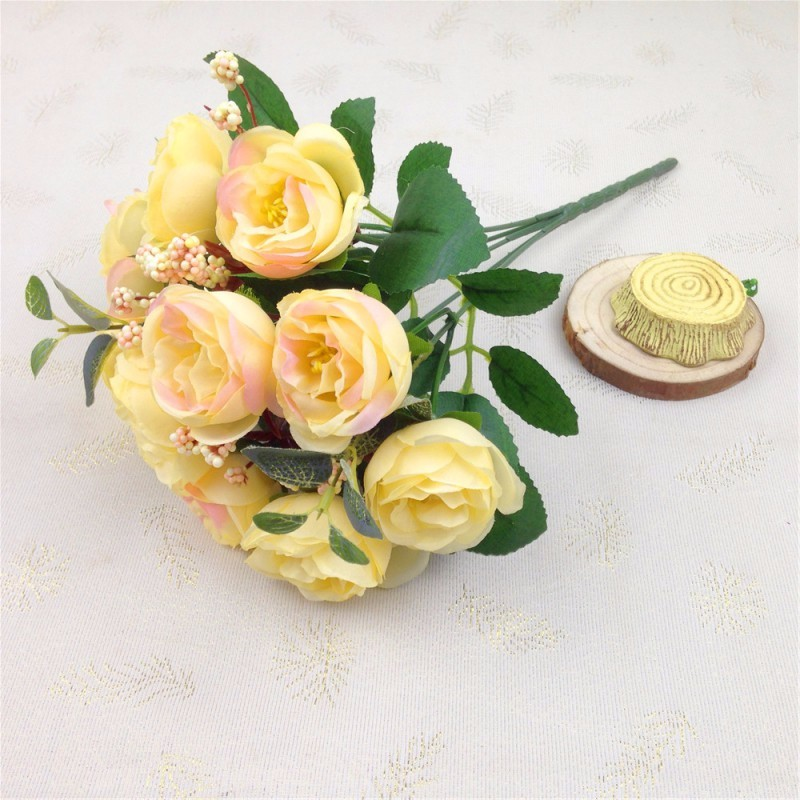 Home Party Design Flowers 10 Head Decor Rose Artificial Flowers Silk Flowers Floral Latex Real Touch Rose Wedding Bouquet