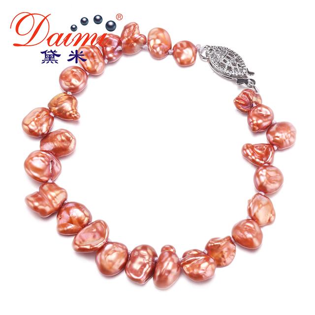 DAIMI 7-8mm Baroque Pearl Bracelet Natural Freshwater Pearl Elastic Bracelet Модный ...