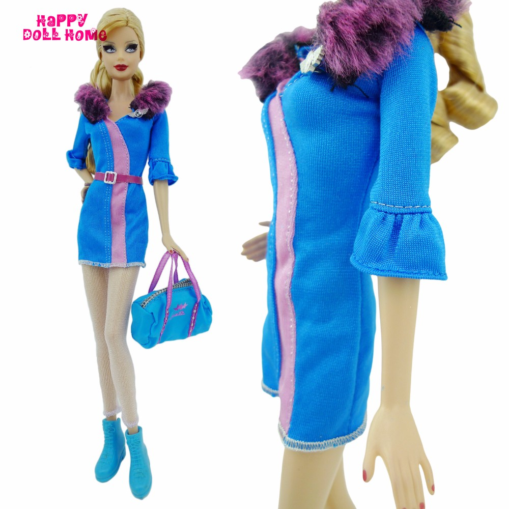 Airline Stewardess Uniform Costume Fur Collar Silk Stockings Purse Ankle Boots Sneakers Garments For Barbie FR Doll Dollhouse Toys