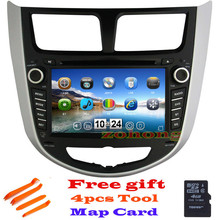 2 din CAR DVD player for Hyundai Solaris accent Verna i25 with navigation GPS Bluetooth radio TV iPod 3G/Wifi usb Free map(China (Mainland))