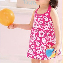 Kid Girl Sleeveless Braces Dress Hot 2-7Y Summer Backless Floral Sundress Dress