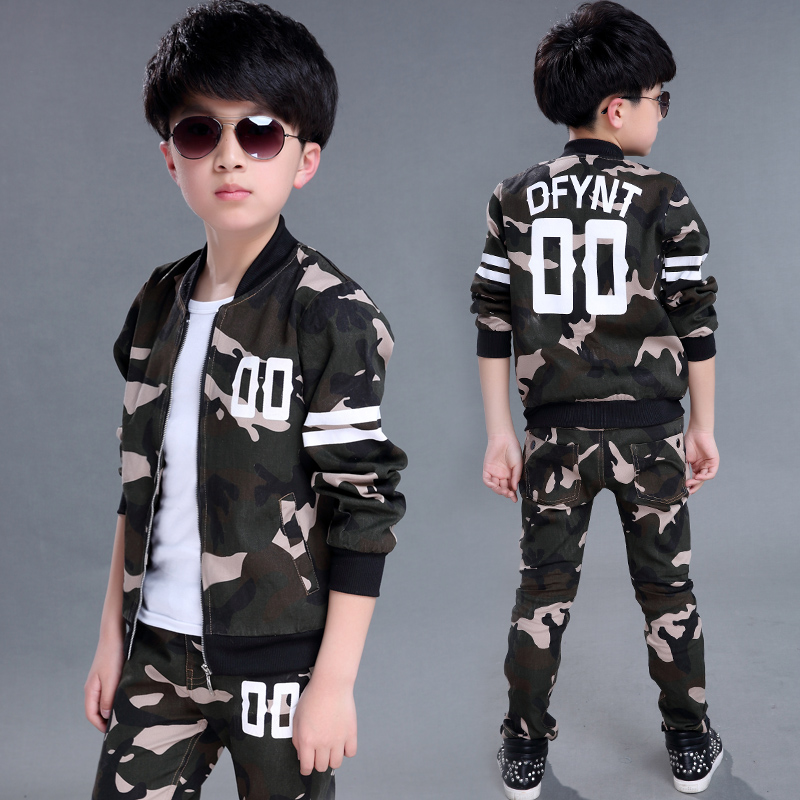 New 2016 Camouflage child set male child spring and autumn child long-sleeve autumn clothes female child military sports twinset(China (Mainland))