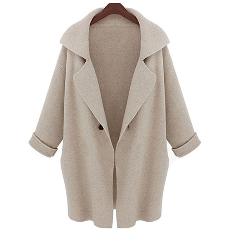 2015 Autumn New Europe lady sweater coat size in the long thick loose knit cardigan female(China (Mainland))