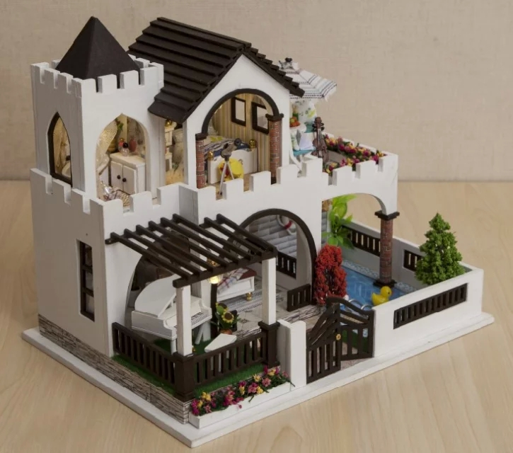 Buy mediterranean castle large diy wood doll house 3d miniature dust cover Buy model home furniture online