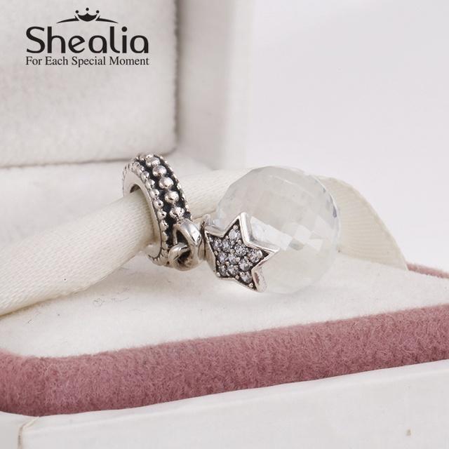 Серебро 925 рождественская звезда прозрачного хрусталя мотаться шарм подвески для женщин браслеты сделай сам ювелирное лучший рождественский подарок
