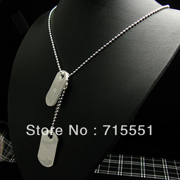 WN35 Men s Jewelry Promotion sale Silver Dog Tag Pendant Necklace Wholesale Fashion Jewelry silver plated