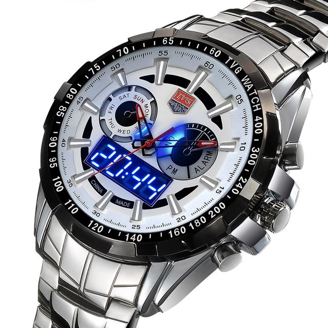 Мужские наручные кварцевые часы марки TVG. Аналогово-электронный циферблат. Водонепроницаемость - до 3-х атмосфер. Материал корпуса и браслета из нержавеющей стали.