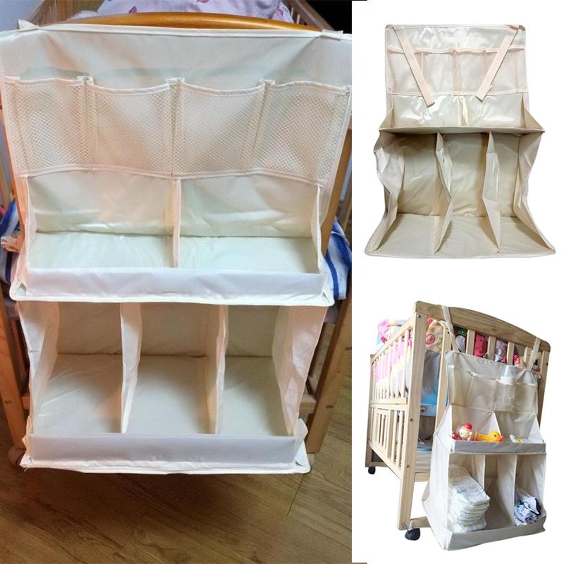 2017 New Waterproof Diapers Organizer Baby Bed Hanging Bag Portable Storage Bedding Accessories bebek cantasi dropshipping(China (Mainland))