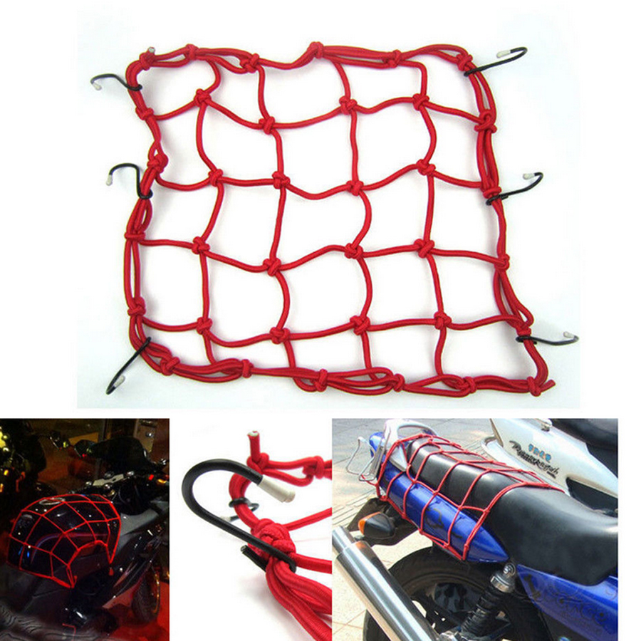 Professional Thickness 25 Holes 40*40cm Motorcycle Cargo Nets Helmet Mesh Nets Bike Luggage Bungee Net With 6 Hooks Carrier Mesh(China (Mainland))