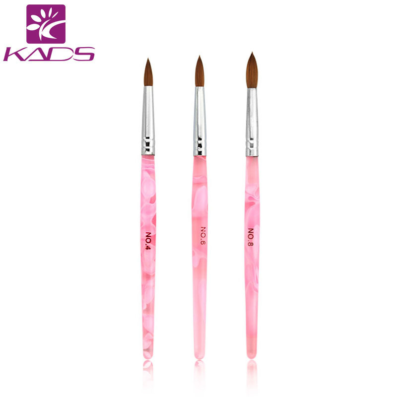 Kads 3pcs round nail brush kolinsky sable brush acrylic for Avon nail decoration brush