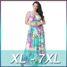 XL-7XL Plus Size High Quality 2016 New Bohemian Style Deep V-neck Sexy Print Long Dress MF6041