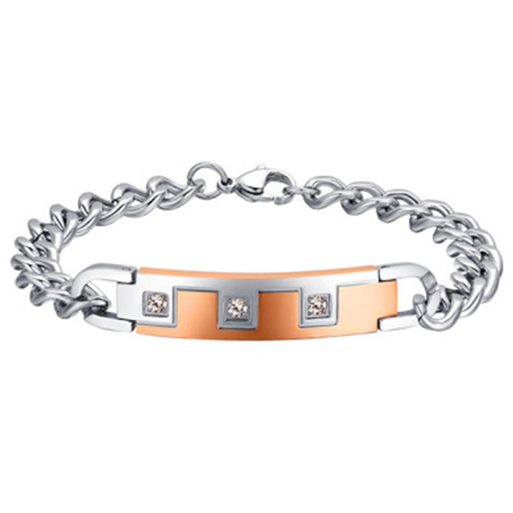 Couples Love Bracelets Black & Rose Gold Tone Stainless Steel Plaid ID Bracelets Romantic Promise Love Men Women Couple Jewelry(China (Mainland))