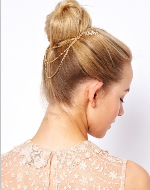 2015 Fashion Golden Metal Long Tassel Chains Cuff leaf women Hair Combs Women Female Hairband Headwear women jewelry gold color(China (Mainland))
