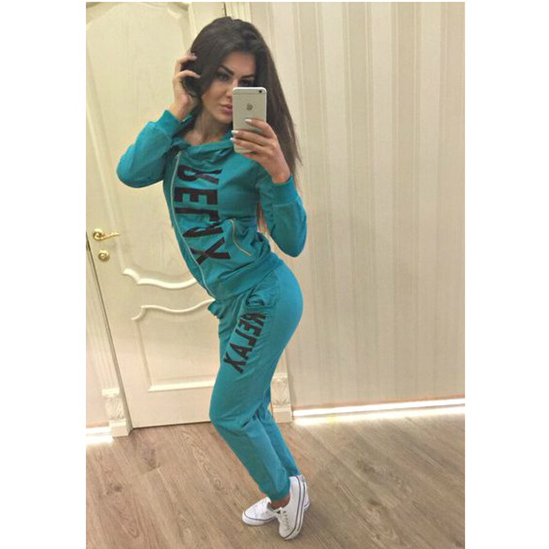 2016 Casual Letters Printed Tracksuits jogging 2 Piece Set Women Sportswear blusas femininoОдежда и ак�е��уары<br><br><br>Aliexpress